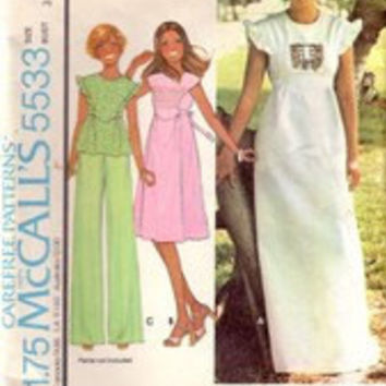 Vintage McCalls 5533, Misses Maxi Dress, Ruffled Sleeve Top, Size 8