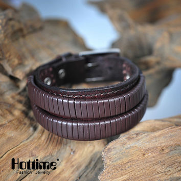 Hottime Italian Genuine Leather Cuff Double Wide And Rope Bangles Brown & Black For Men Fashion Man Bracelet Unisex Jewelry PG43