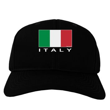 Italian Flag - Italy Text Adult Dark Baseball Cap Hat by TooLoud