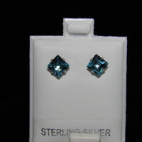 New 2.65ctw Sterling Silver Stud Earrings 6x6mm Square Princess Cut Blue Topaz