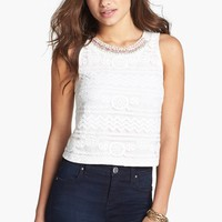 Lush Beaded Lace Front Tank (Juniors)