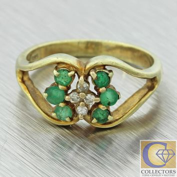 1940s Antique Vintage Estate 14k Yellow Gold Emerald Diamond Heart Shape Ring
