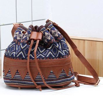 Women Cotton National Style Stylish String Bucket Bag Crossbody Bag