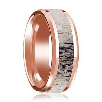 14K Rose Gold Wedding Ring Inlaid with Ombre Deer Beveled Edge and Polished