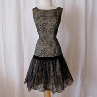 Charming 1950's 1960s black lace cocktail dress by wearitagain