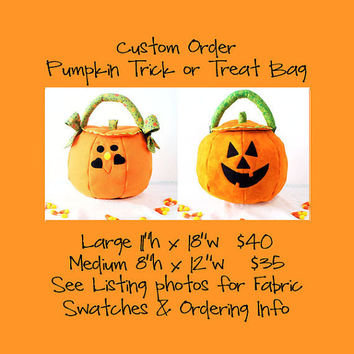 Pumpkin Trick or Treat Bag Quilted Fabric Custom