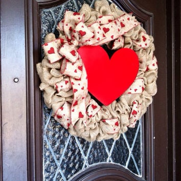 Valentines Day Wreath, Heart Wreath, Burlap Valentines Wreath, Spring Wreath, Valentines Decoration