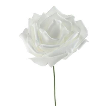 Rose Foam Flower Stem Wedding Decor, White, 12-Inch