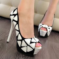 Mixed Color Peep Toe Pumps for Women QWE921