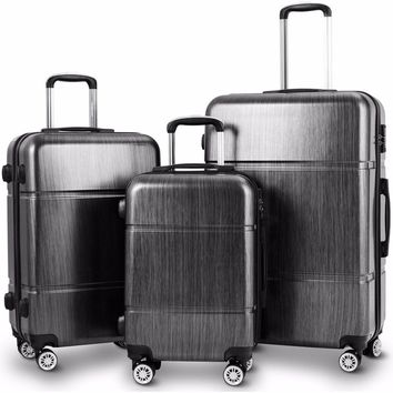 "Giantex 3Pc Luggage Set 20"" 24"" 28"" Trolley Suitcase ABS+PC Spinner w/TSA Lock"