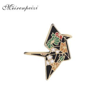 replicate Crane pins in brooches Enamel Origami pins Badge Denim Jackets pin flower crane pin brooch for backpack jeans 2018