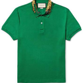 Gucci - Slim-Fit Embroidered Stretch-Cotton Piqu¨¦ Polo Shirt