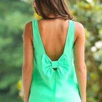 EVERLY:Bow Your Mind Blouse-Spring Green