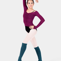 Free Shipping - Adult Long Sleeve Acrylic Stretch Ballet Neck Top by KD DANCE