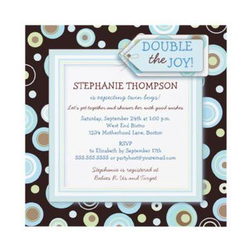 Happy Blue Dots Twin Boy Baby Shower Invitation from Zazzle.com