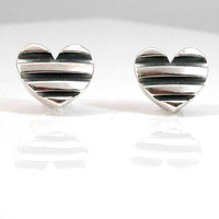 Striped Silver Heart Post Earrings  Handmade by SwankMetalsmithing