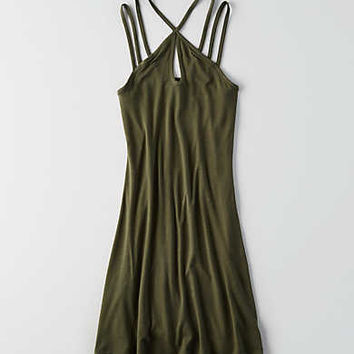 AEO Strappy Shift Dress, Olive