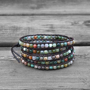 Leather Agate Bracelet Agate Wrap Bracelet Beaded Bracelet Leather Wrap Bracelet 4mm Beaded Bracelet with Brown Leather Cord