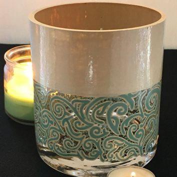 Ocean Cream Handpainted Vase