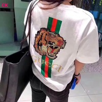 """""""Gucci"""" Letter Cartoon Mickey Mouse pattern Print Women Casual Short Sleeve T-shirt Top Tee"""