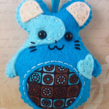 Hamster Key Chain/Ornament, Blue Felt Hand Stitched, Flower Canvas Belly