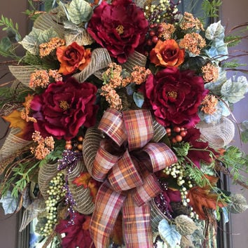 Thanksgiving Wreath, Autumn Wreath, Fall Wreath, Grapevine Wreath, Front Door Wreath