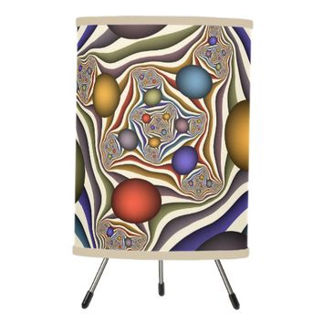 Flying Up, Colorful, Modern, Abstract Fractal Art Tripod Lamp