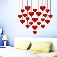 Wall Decals Love Hearts Falling Decal Vinyl Sticker Home Decor Nursery Bedroom Interior Window Decals Living Room Art Murals