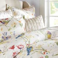 PAINTERLY BIRD DUVET COVER & SHAM