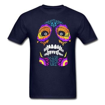 Printed Sugar Skull Men Tee Shirts Concert Green Costumes for Mens 80s 100% Cotton Day of the Dead T Shirts On Sale