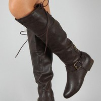 Alasca-1 Buckle Riding Knee High Boot