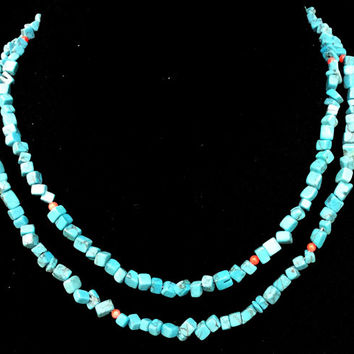 Turquoise and coral long necklace, easy to wear necklace, womens gift, jewelry