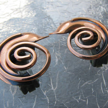 Copper Swirl Earrings, Clip On, Coiled Abstract Serpent
