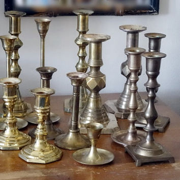 "Mixed Lot Vintage Brass Candle Holders Candlesticks Some Matching 2.5"" - 8"""