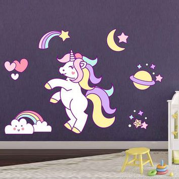 Unicorn Wall Decal Unicorn Wall Decor Unicorn Wall Sticker Rainbow Clouds Wall Decal Stars Wall Decal Nursery Decor cik2257