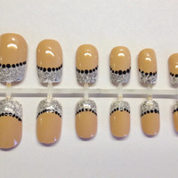 Lace French Tip Stamped Press On False Nails Fale Nails