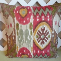 Ikat Pillow Cover in Cherry Red, Green, Chocolate Brown, Gold,Wheat