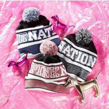 ONETOW Victoria's Secret PINK Knit Hat Bling Beanie - Grey