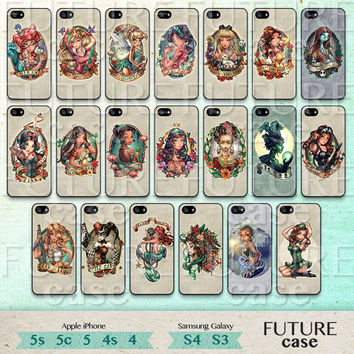 iPhone 5s Case Disney Princess iPhone Case Tattooed Disney Princess iphone 5c case iphone 5 skin case cover Hard or Soft Case-DTP20