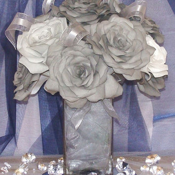 Grey and White Roses,Bridal flowers,wedding centerpiece,Glass Vase,Coffee Filter Flowers,Baby shower,Quinceanera,Centerpieces,home Decor