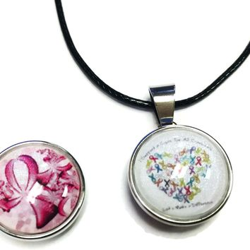 I Support A Cure Pink Ribbon Breast Cancer Support Awareness Pendant Necklace  W/2 18MM - 20MM Snap Jewelry Charms