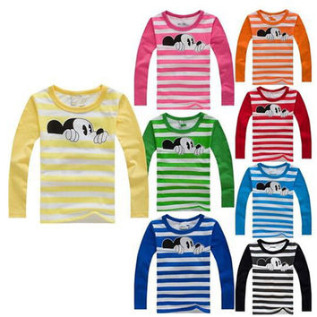 Hot sale 2-6T Kids Mickey T-shirts kawaii Long sleeve O-neck Kids Clothing Boys Girls Unisex T-shirt 100% Cotton Kid Tshirt