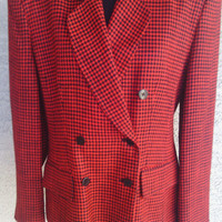 Jone's New York blazer women size 8 red black check double breasted 5 button front one button cuff classic houndstooth check