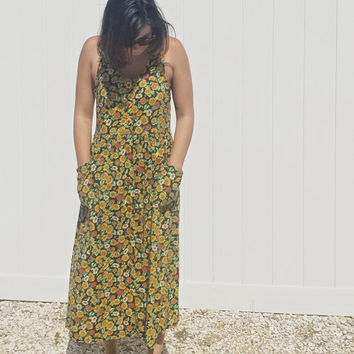 Vintage 90's Sunflower Print Jumper Maxi Dress - Size Small