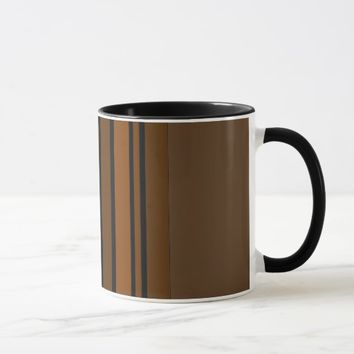 Brown/Black Vertical Stripes Mug