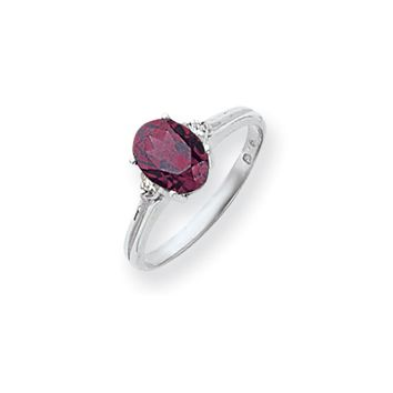0.04 Ct  14k White Gold 8x6mm Oval Rhodolite Garnet Diamond Ring SI2/SI3 Clarity and G/I Color