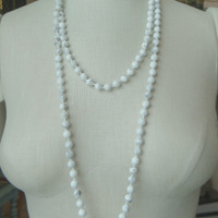 Double Wrap White Howlite Long Strand Necklace