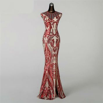 Evening Dress prom gowns Formal Party dress Vintage Red Slit Luxury Sequin robe