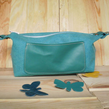 Teal Blue Waxed canvas Dopp kit, Cosmetic bag, Travel case,Make up bag, Handmade toiletry purse, Girls cosmetic set, Personalized, Summer
