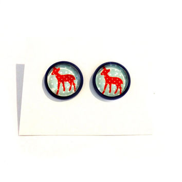 Vintage Style young deer Bambi, flowers red & blue picture resin handmade round brass stud earrings For spring Summer celebration!